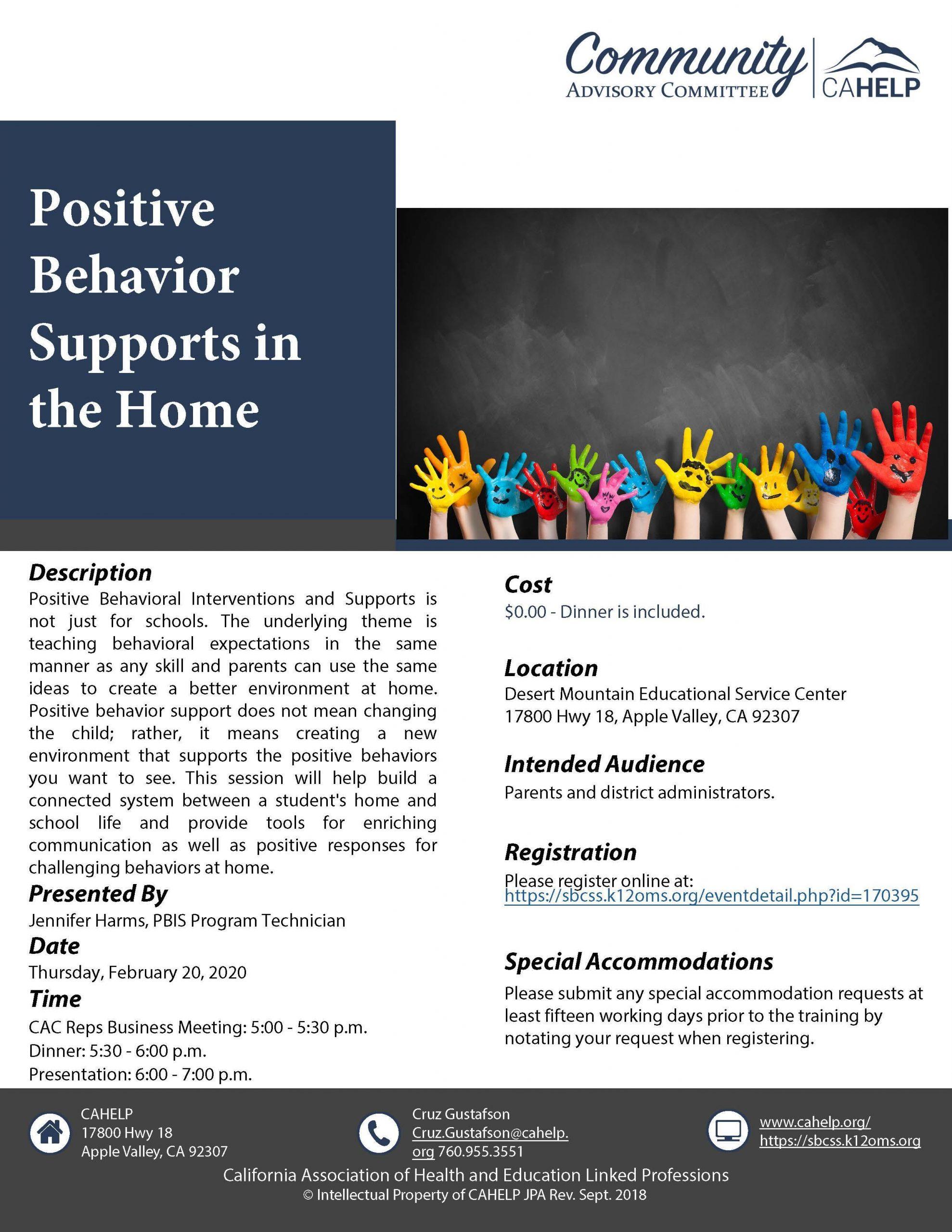 Positive Behavior Presentation By Cahelp