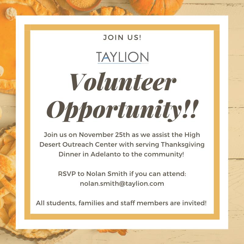 Taylion Volunteer Opportunity
